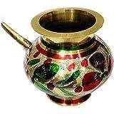Salvus App SOLUTIONS Decorated Colorful Handmade Pooja Golden Karwa,karwa chauth lota, karwa chauth Set,karwa,karwa lota Silver,karwa lota Copper, karwa lota Brass, lota, Brass lota 4 Inches(No.12)