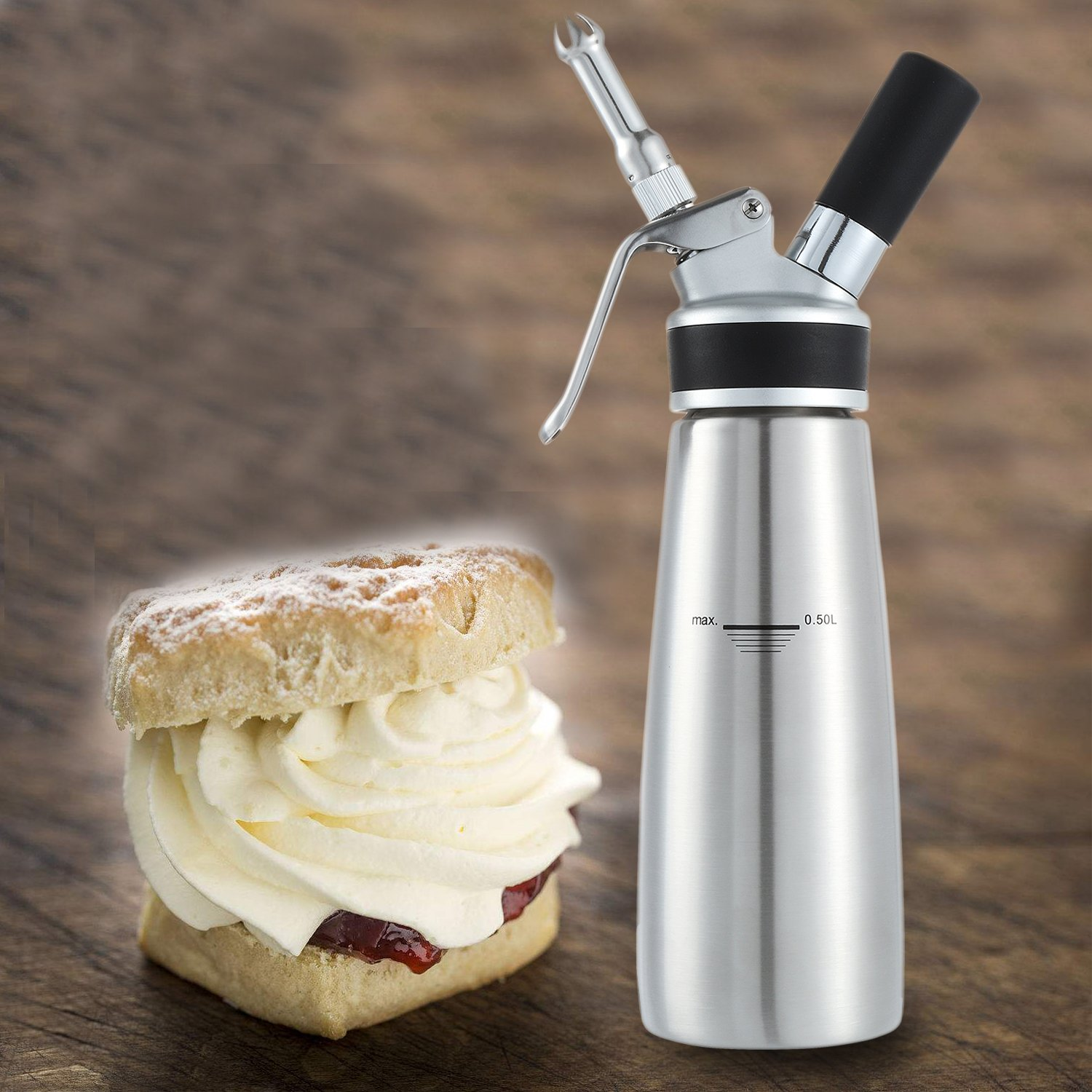 3 pcs Plastic Pastry Tube 1L Parateck 1L Professional Aluminum Whipped Cream Dispenser Gourmet Whipper Stainless Steel Decorating Nozzles Welldeal COMINHKPR121575