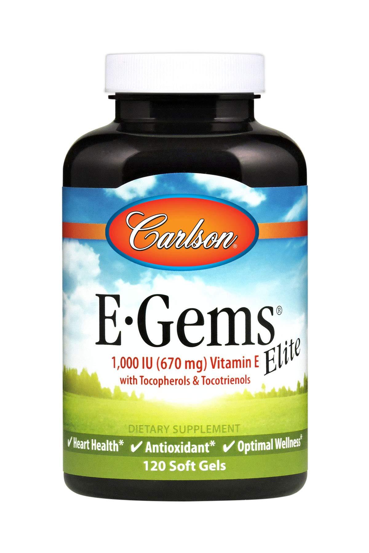 Carlson - E-Gems Elite, 1000 IU Vitamin E with Tocopherols & Tocotrienols, Heart Health & Optimal Wellness, Antioxidant, 120 soft gels by Carlson