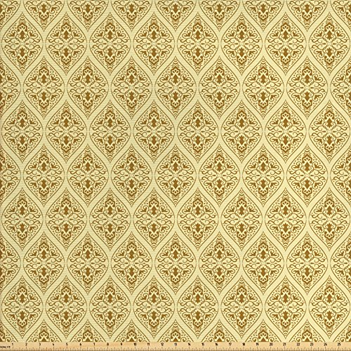 Ambesonne Damask Fabric by The Yard, Victorian Vintage Royal Ornamental Tiles Middle Age Renaissance Pattern, Decorative Fabric for Upholstery and Home Accents, Light Yellow Amber