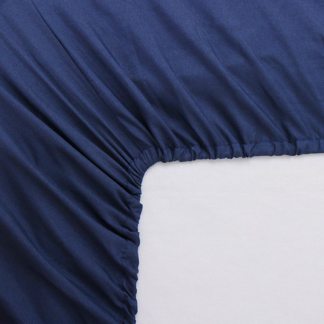 uxcell Full Size Fitted Sheet Only, 200 Thread Count 100% Cotton Fitted Bed Sheet with 15'' Deep Pocket - Breathable Durable and Comfortable Bottom Sheet (Full, Navy Blue)