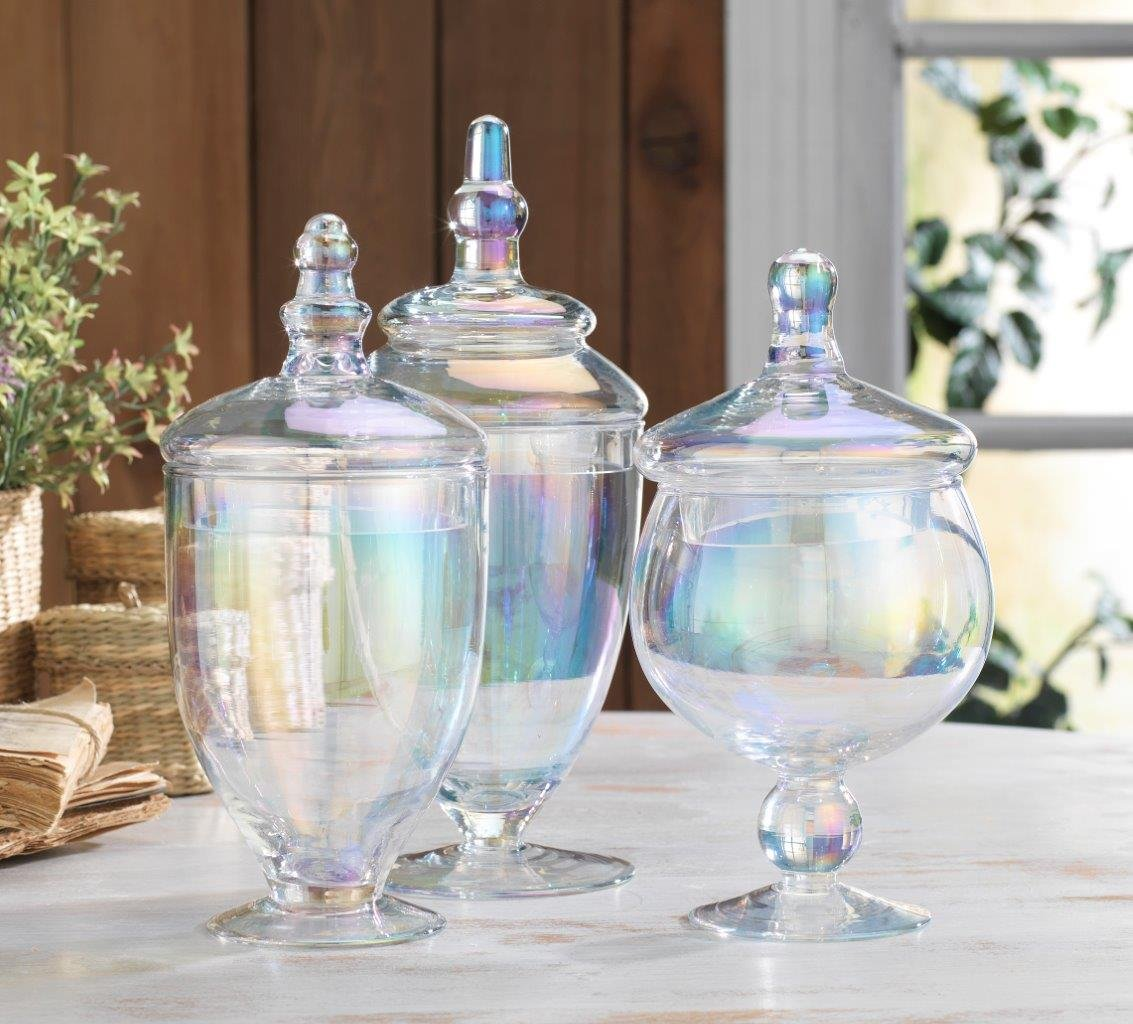 Classic Home Glass Blue Apothecary Jars Wedding Candy Buffet Containers Set of 3