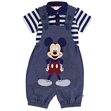 556590b4b Disney Mickey Mouse Two Piece Dungaree Set Babies Blue/White Clothes Set 6-9  Months: Amazon.co.uk: Clothing