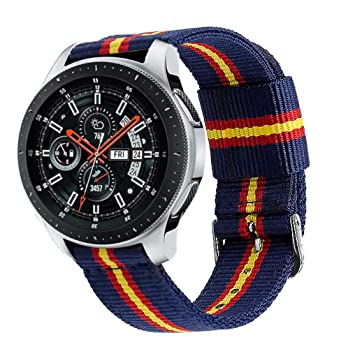 Estuyoya - Pulsera de Nylon Compatible con Samsung Gear S3 Frontier/Classic/Galaxy Watch 46mm Colores Bandera de España, Ancho 22mm Ajustable ...