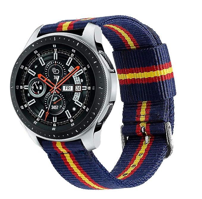 Estuyoya - Pulsera de Nylon Compatible con Samsung Gear S3 Frontier/Classic/Galaxy Watch 46mm Colores Bandera de España, Ancho 22mm Ajustable ...