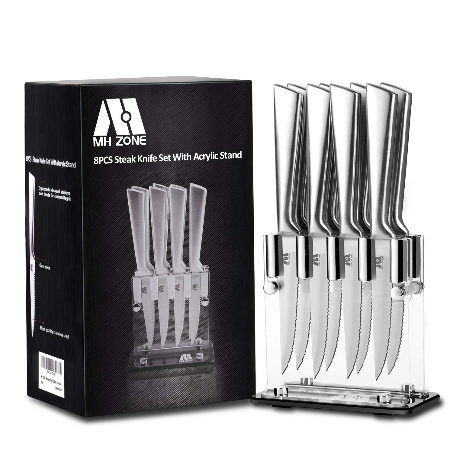 Steak Knife Set, MH ZONE Premium Stainless Steel Steak Knife Set of 8 with Acrylic Block, Perfect Gift by M MH ZONE