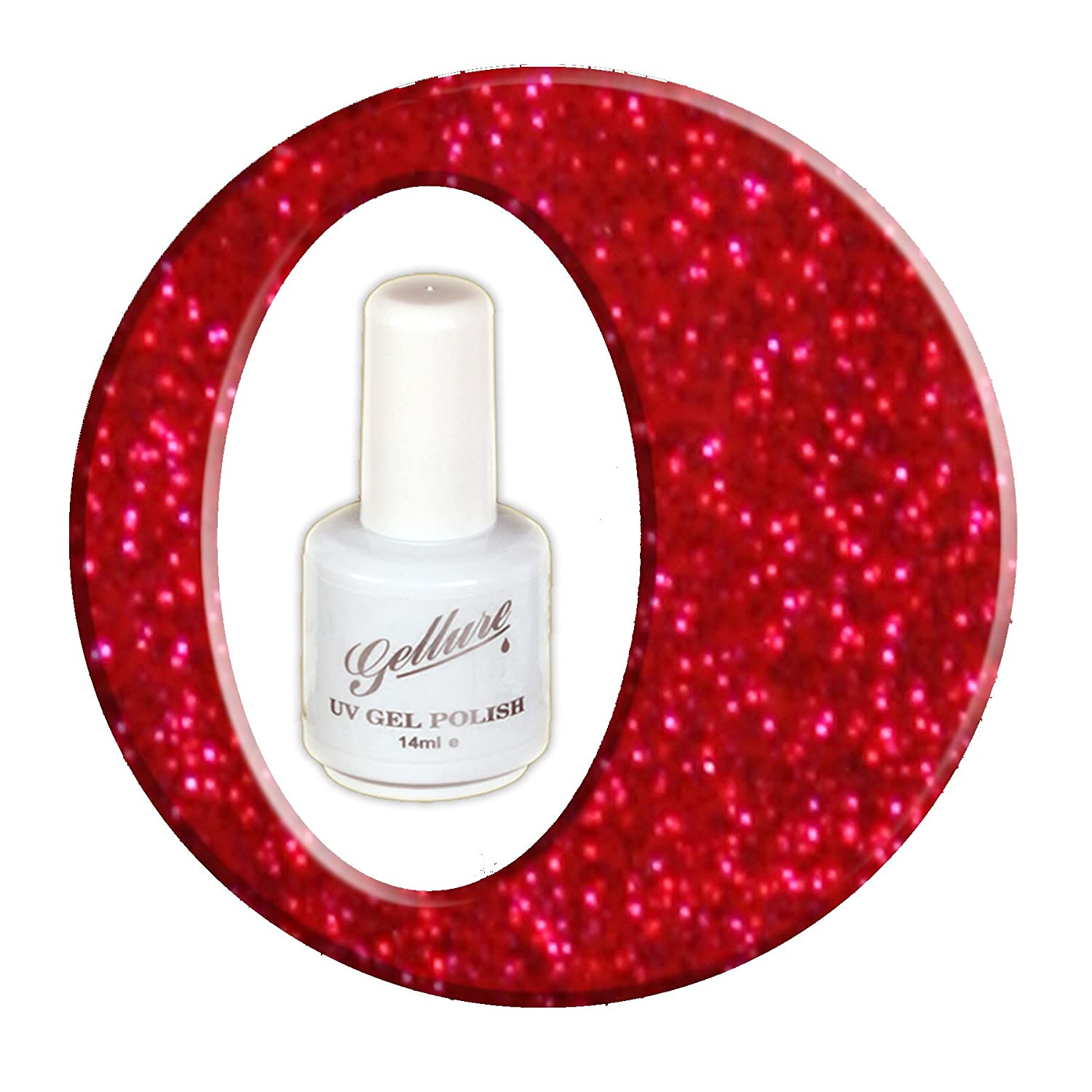 #09 Gellure U.V & L.E.D Gel Nail Polish - Ruby Slippers - Shimmering Deep Red Metallic Glitter, click your heels together and make a wish!