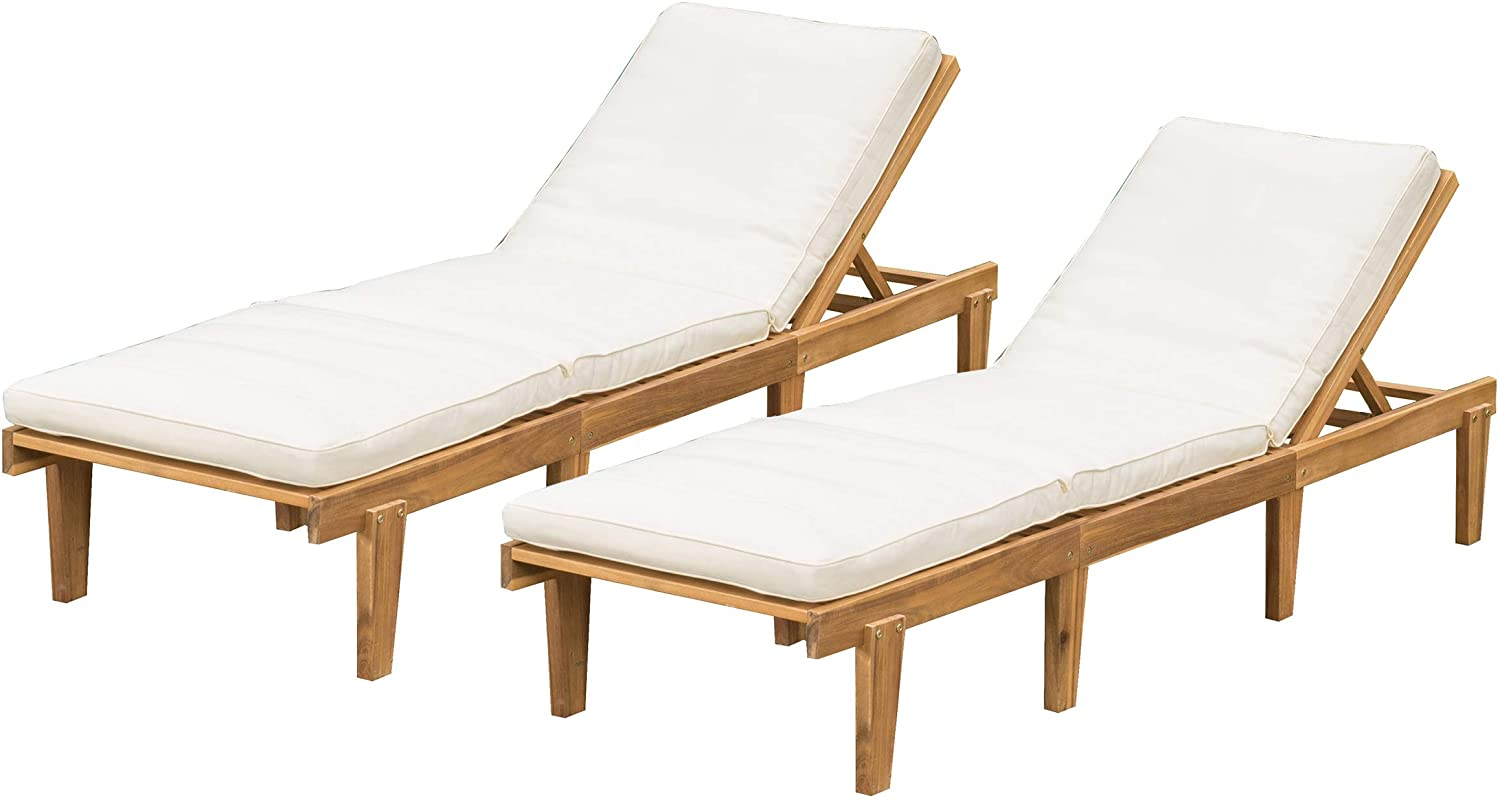 Amazon Com Christopher Knight Home Outdoor Pool Deck Furniture Teak Chaise Lounge Chairs With Cushions Set Of 2 Garden Outdoor