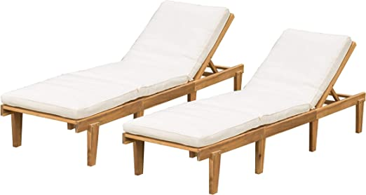 Amazon.com: (Set de 2) - Sillones chaise lounge de teca ...