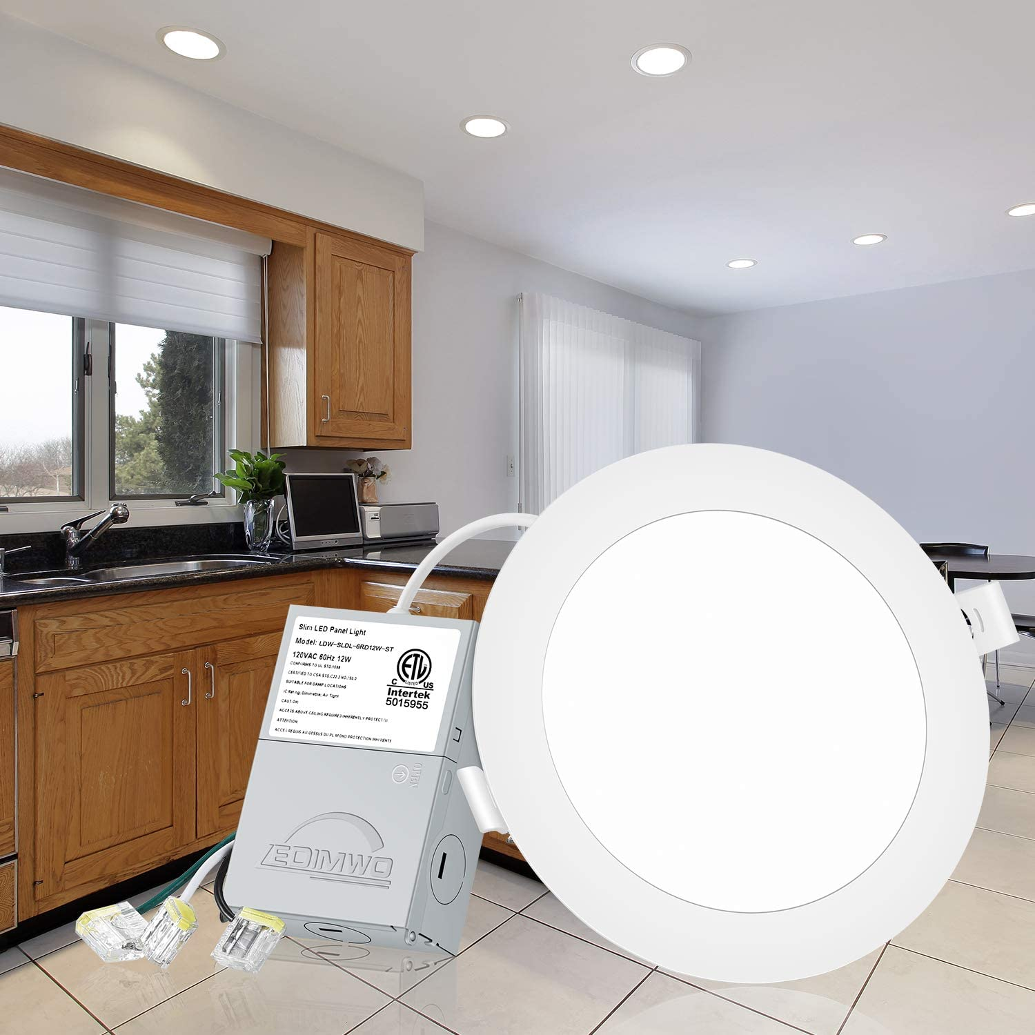 Led Panel Light with Junction Box 1000lm 5000K Daylight 12W=120W Recessed Ceiling Light LEDIMWO 6 Pack No-Flicker Dimmable 6LED Downlight IC Rated ETL /& Energy Star