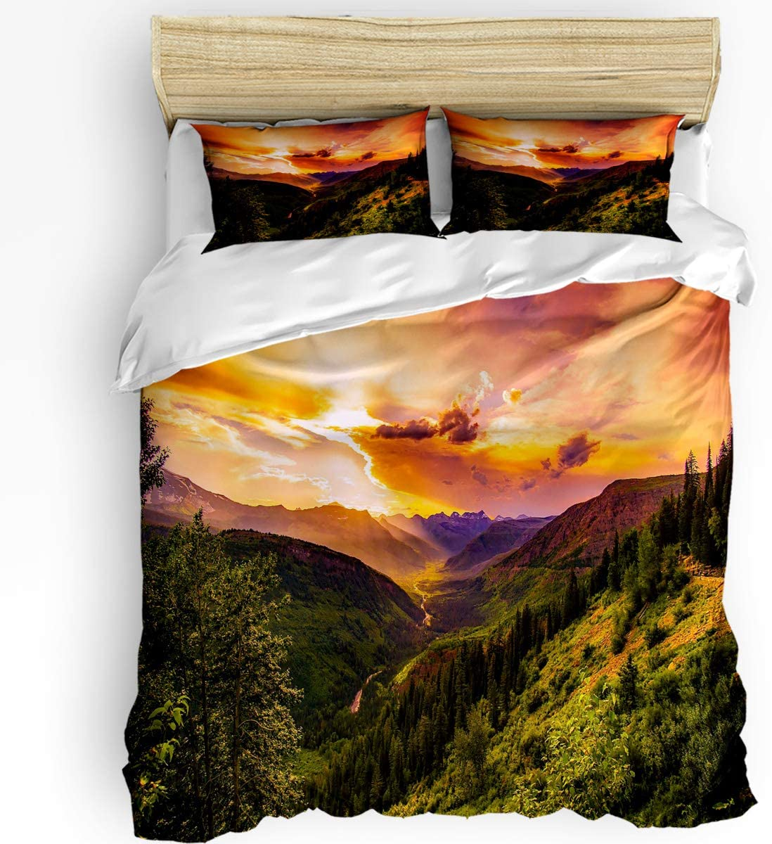 Queen Area 3 Pcs Twin Duvet Cover Set - Nature Sunrise and Mountain Valley River Scenic Picture Patterned Soft Breathable Bedding Set with Zipper Closure and 2 Pillow Shams (Not Including Comforter)