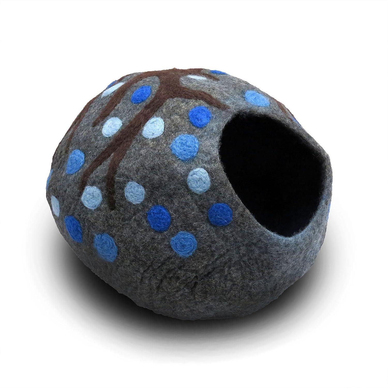猫の手作りベット 【ECO KITTY CAVE】 オーガニックウール100% 色:パープル Lサイズ B01L6R6M48 ブルー  ブルー