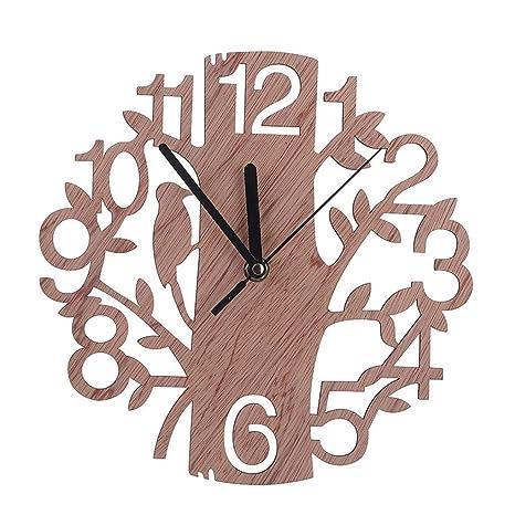 Morza Forma 22cm DIY 3D del árbol de Reloj de Pared de Madera del Reloj de