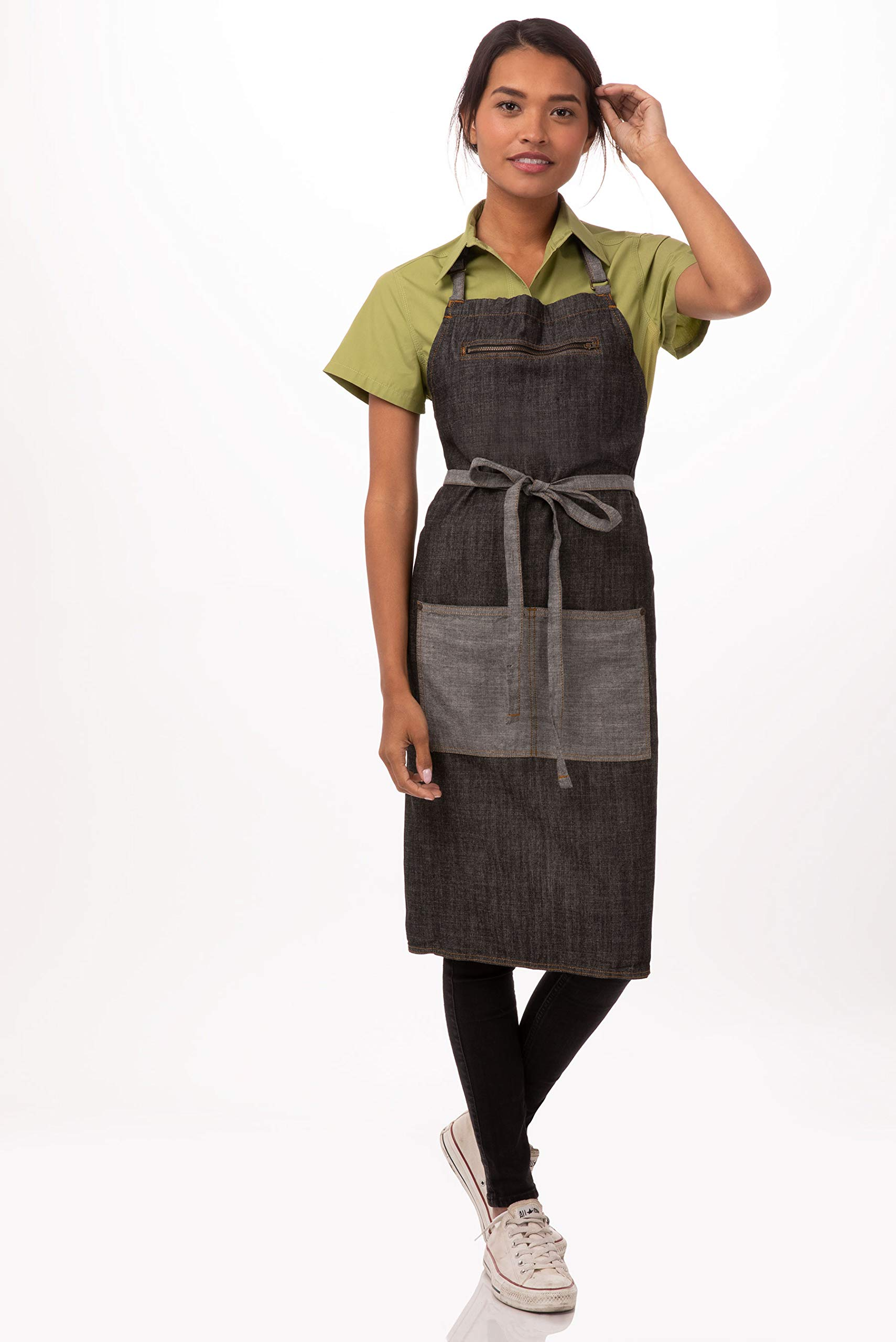 Chef Works Unisex Manhattan Bib Apron, Black, One Size by Chef Works
