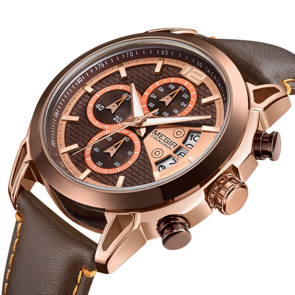 Relojes cronógrafos para Hombre Deportes Cuarzo Reloj de Pulsera para Hombre Pantalla Analógica Manecillas Luminosas Correa Cuero Marrón: Amazon.es: Belleza
