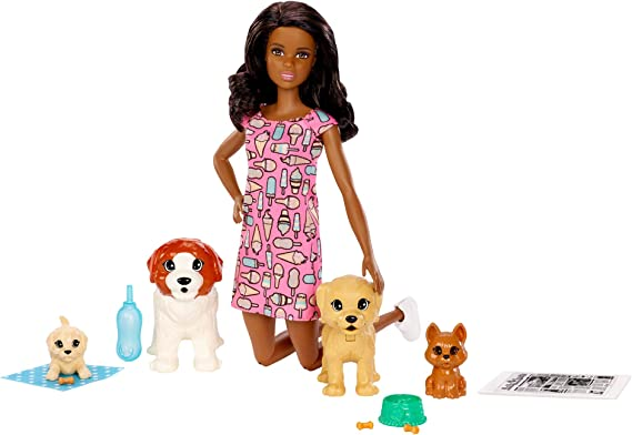 NEW Barbie Pets Brown Puppy Dog W// Basket And Bone