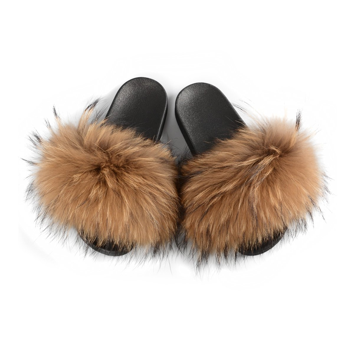 Jancoco Max Womens Luxury Real Raccon Fur Slippers Slides Indoor Outdoor Flat Soles Soft Summer Shoes Camel by Jancoco Max