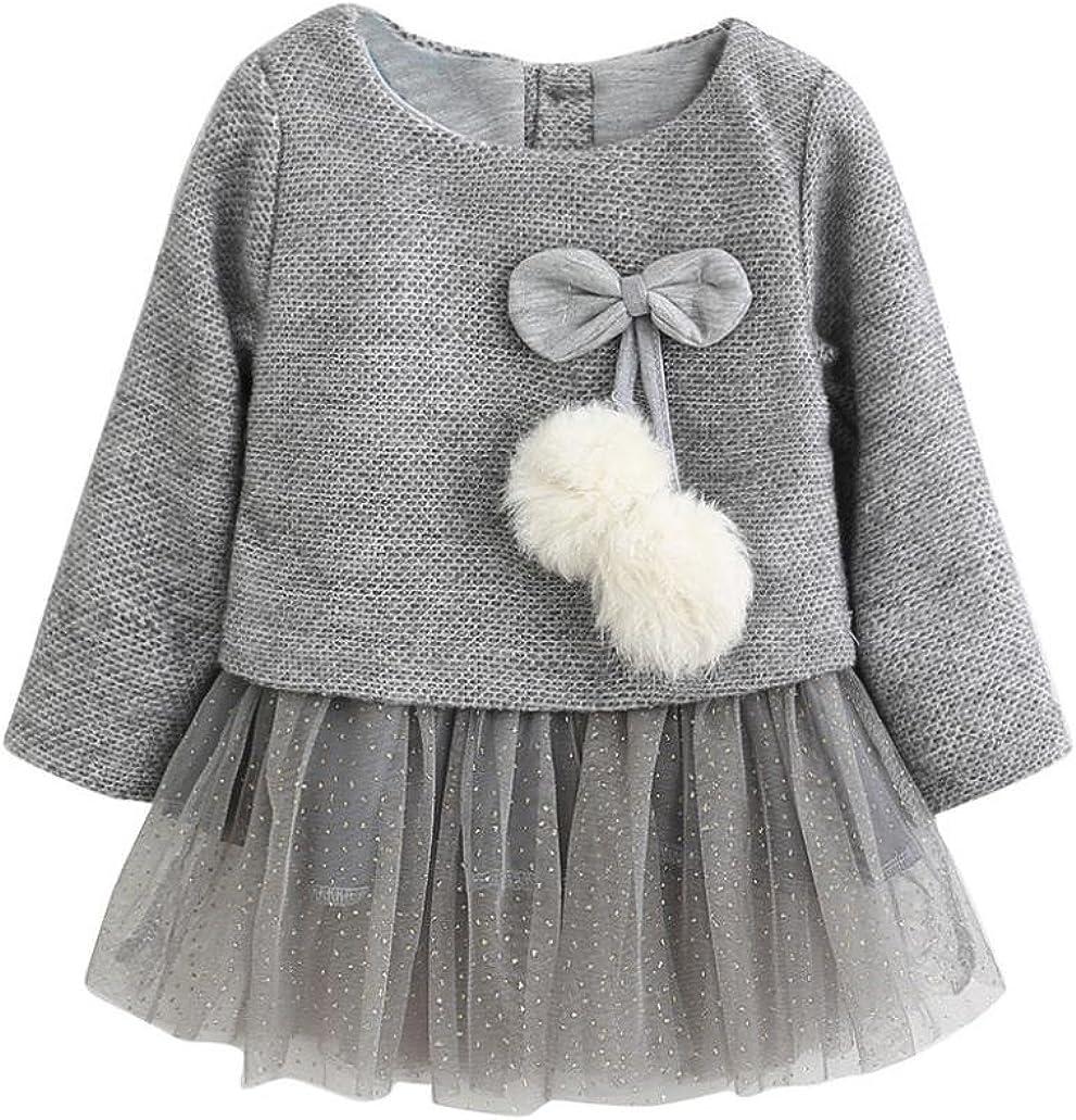 Jarsh Toddler Baby Kid Girls Long Sleeve Knitted Bow Hairball Dress Gilding Printing Tutu Skirt