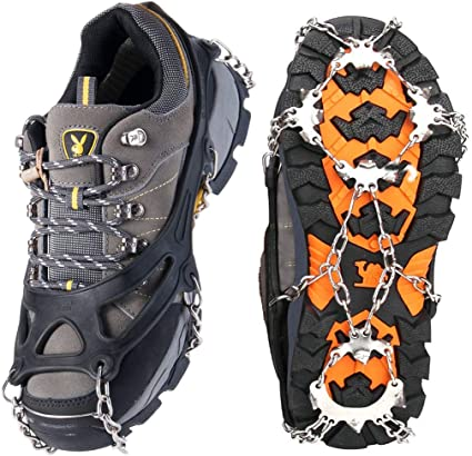 Pair Ice Snow Climbing Antiskid Crampons Walking Boot Shoe Cover Spike Cleats JO