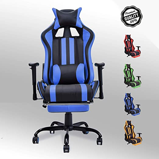 Soontrans Gaming Stuhl mit Fußstützen Racing Bürostuhl Chefsessel Zockerstuhl