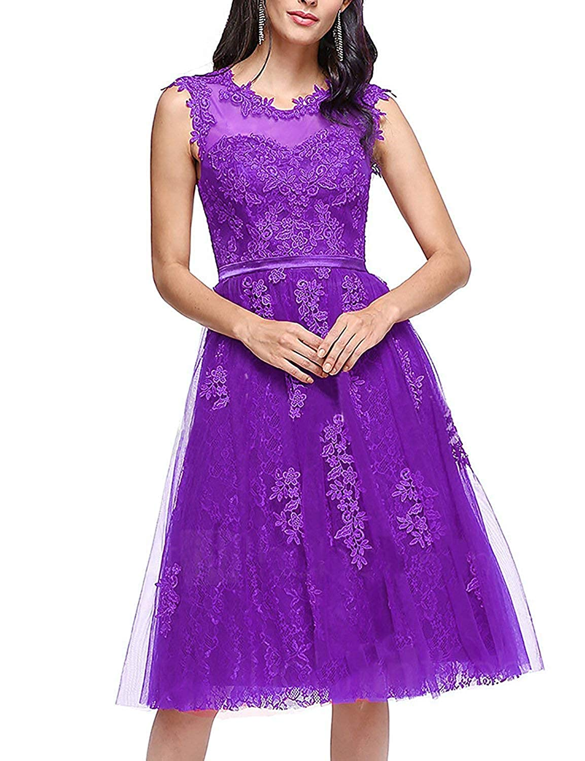 Light Purple ASBridal Bridesmaid Dresses Short Homecoming Dress Lace Cocktail Party Gowns Prom Gown Knee Length
