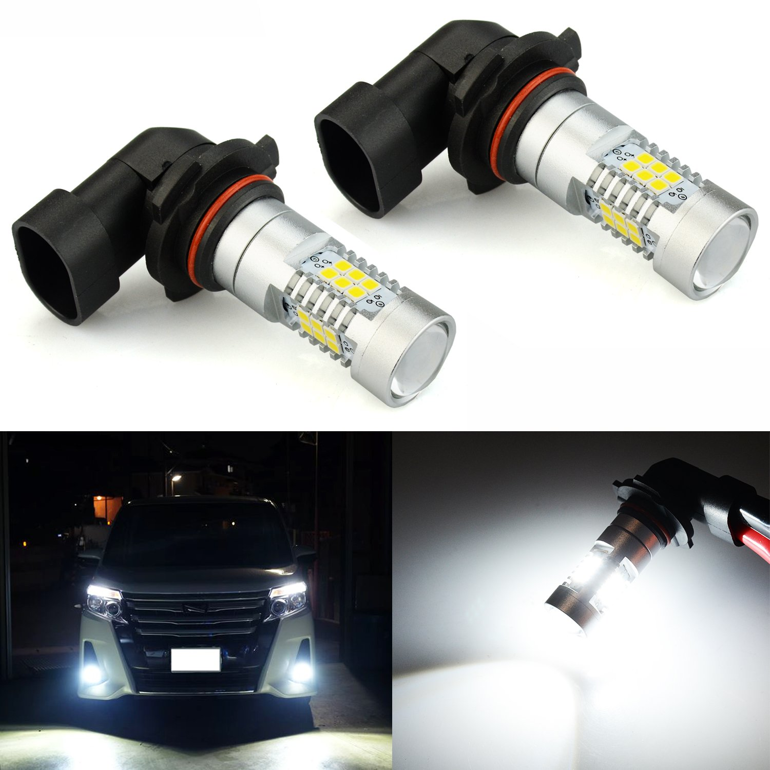JDM ASTAR 2520 Lumens Extremely Bright PX Chips H10 9140 9145 LED Fog Light Bulbs with Projector for DRL or Fog Lights, Xenon White by JDM ASTAR (Image #1)