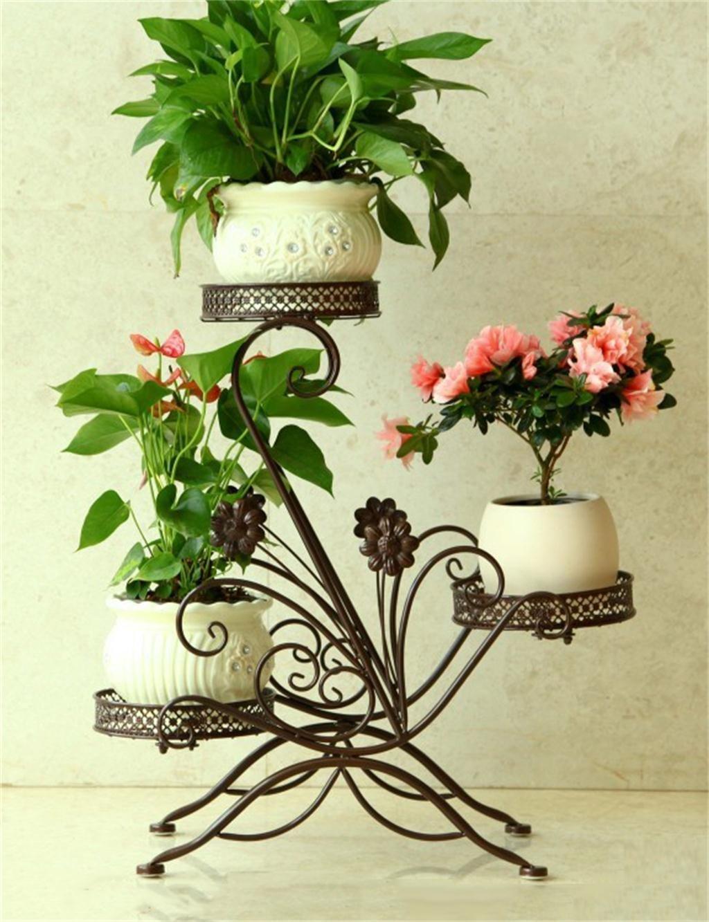 Iron Plant Stand Regal hält 3-Blumentopf für Wohnzimmer, Balkon, Innen-, Montage ( farbe : Bronze )