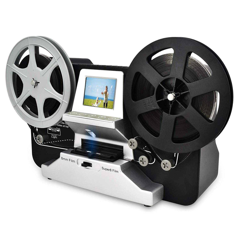 8mm & Super 8 Reels to Digital MovieMaker Film Sanner,Pro Film Digitizer Machine with 2.4'' LCD, Black (Film 2 Digital Movie Maker&8mm Film Scanner) with 32 GB SD Card