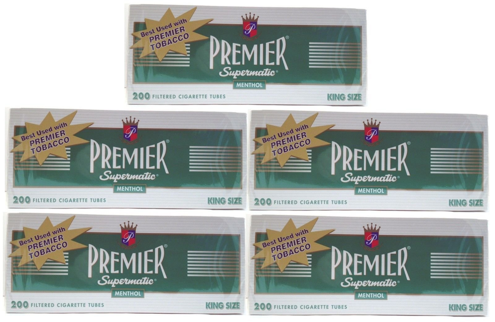 (5) Five Boxes of Premier Menthol - King Size Cigarette Tubes