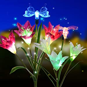 Doingart Outdoor Solar Garden Lights, 2 Pack Solar Powered Lights with Lily Flower, Hummingbird and Butterfly, Multi-Color Changing LED Solar Decorative Lights for Garden, Patio, Backyard