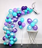 Mermaid Tail Balloons Party Supplies 136pcs Garland Kit (Mermaid tail foil.Silver Confetti.Pearlescent Tiffany Blue Purple.White.)Tying Tools+Decorating Strip+Glue Dots+Flower Clips+Ribbon.Ocean Theme
