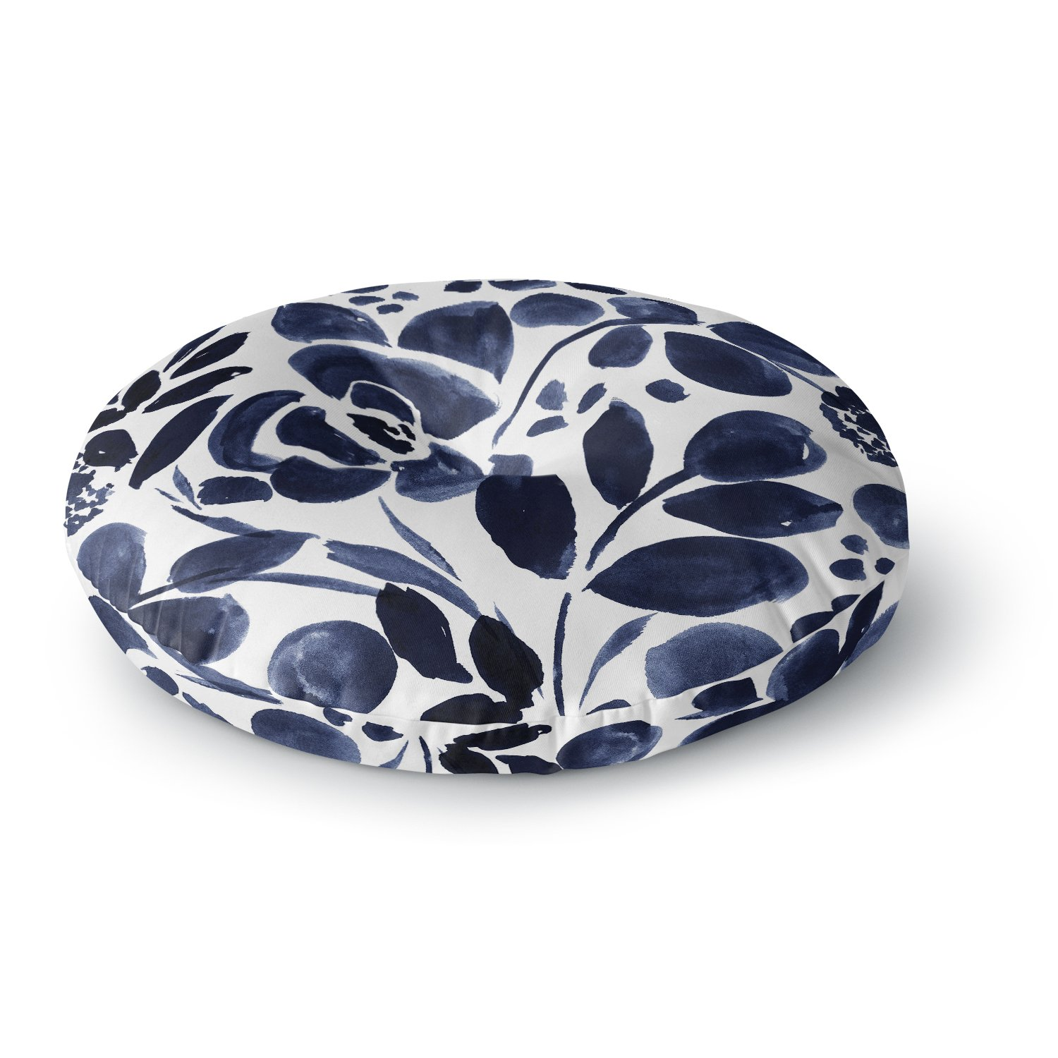 Kess InHouse Crystal Walen Watercolor Floral-Navy Painting 26 Round Floor Pillow