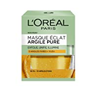 L'Oréal Paris Masque Eclat aux 3 Argiles Pures et graines de Yuzu pour Peaux Ternes 50 ml - Lot de 2