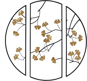 """Madison Park Golden Gingko Leaves Wall Art Living Room Décor-Metal Botanical Decoration Modern Home Accent for Bathroom, Ready to Hang Ornament for Bedroom, 14.6"""" x 35.4"""", Black/Gold, 3 Piece"""
