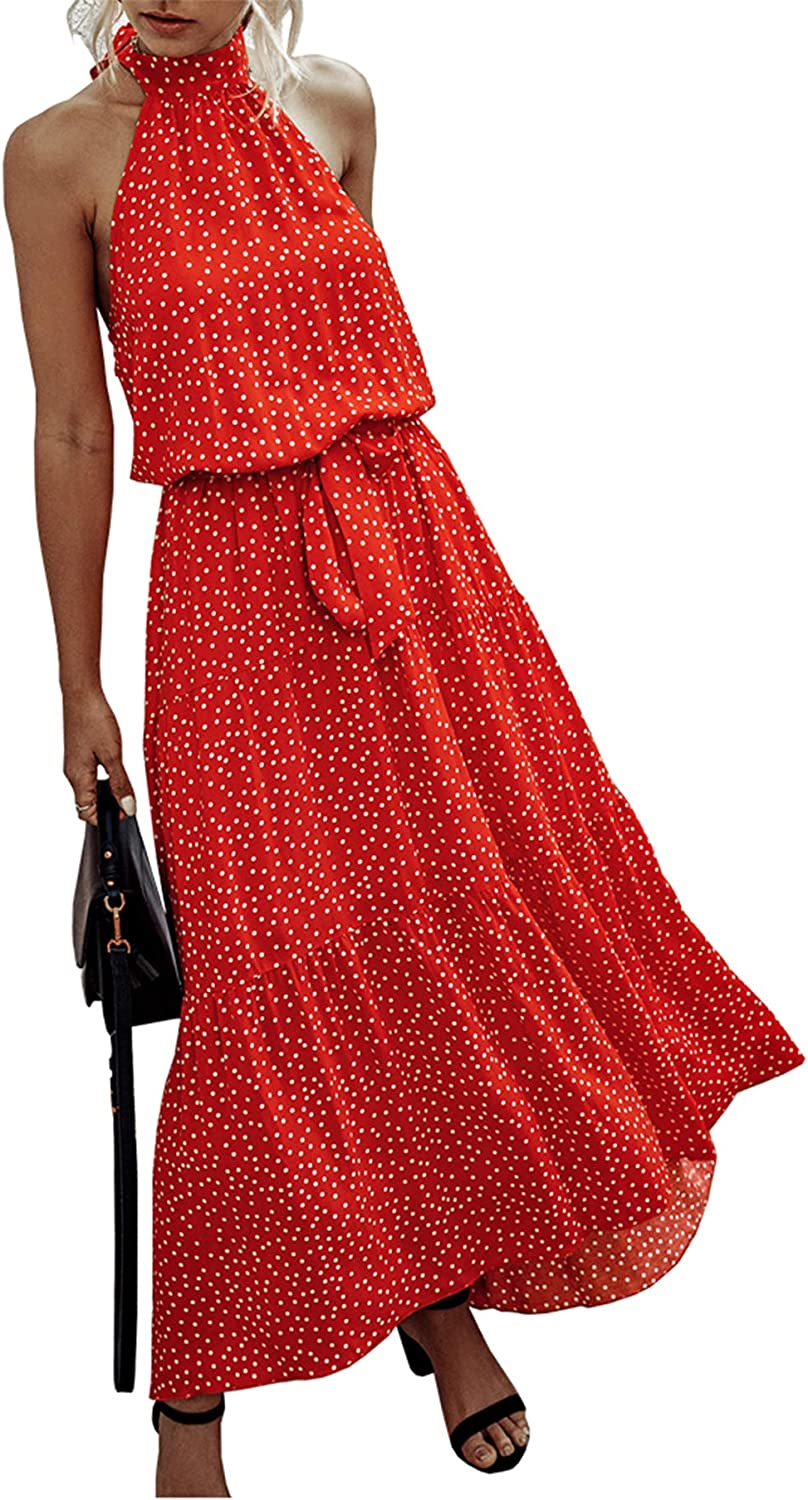 PRETTYGARDEN Women's Casual Halter Neck Sleeveless Floral Long Maxi Dress Backless Loose Ruffle Sundress with Belt