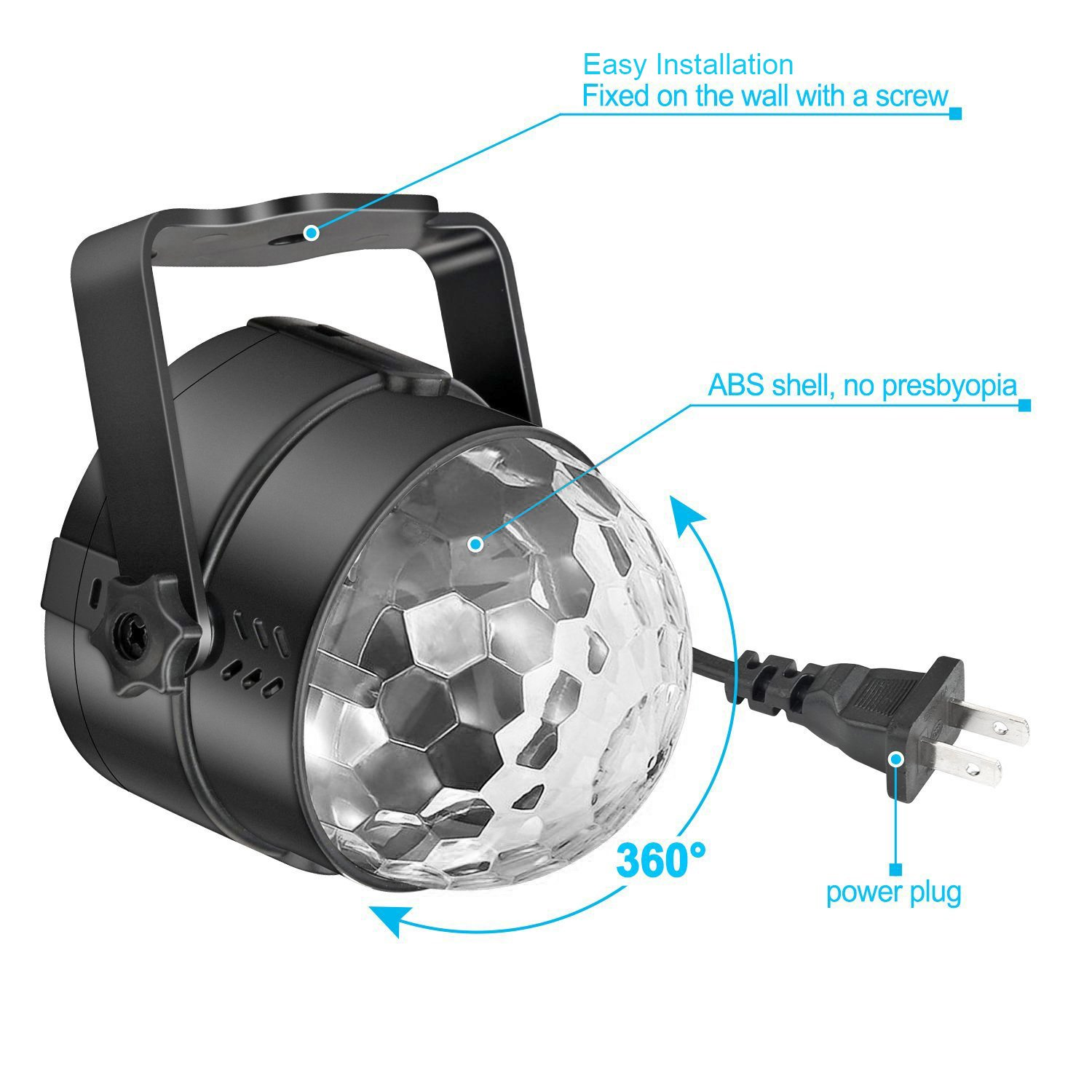 Led Sound Activated Party Lights Disco Ball DJ Strobe Club Lamp 7 ...