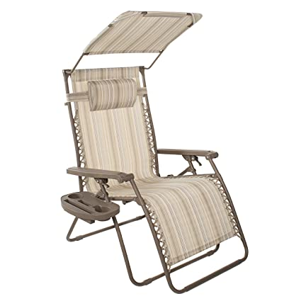 Positive Altitude XXL Gravity Free Recliner Chair With Canopy And Tray  (Natural Tortoise Stripe)