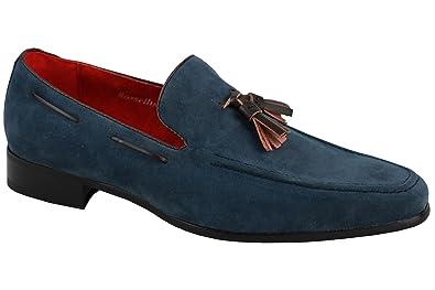 Herren-Loafer mit Quasten aus Wildleder, Lederfutter, Grau - grau - Größe: 45 EU