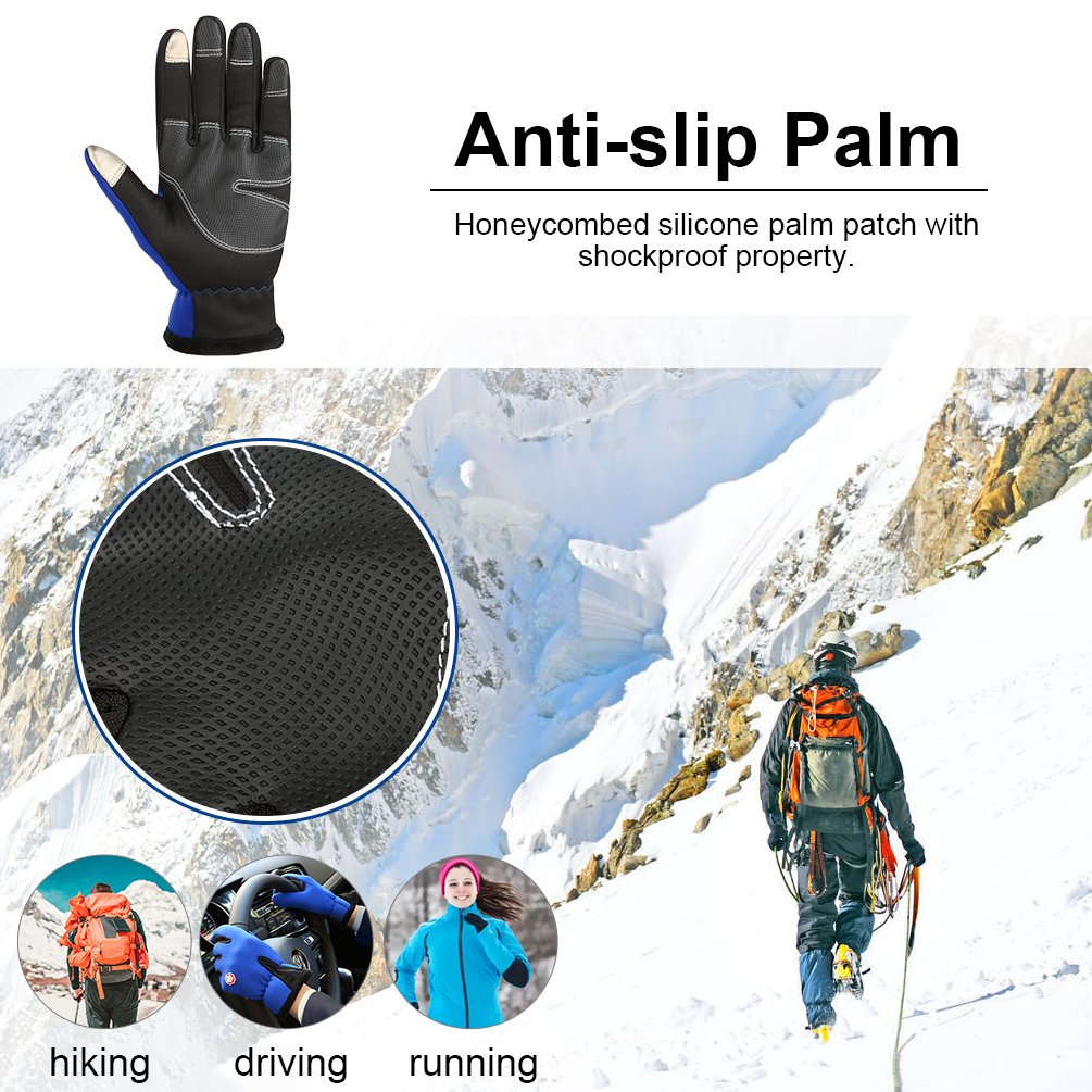 Vbiger Winterhandschuhe Fahrradhandschuhe Touchscreen Handschuhe Anti-Rutsch Fahrradhandschuhe für Klettern Laufen Wandern Autofahren Outdoor Winddicht Warm Arbeitshandschuhe für Damen und Herren