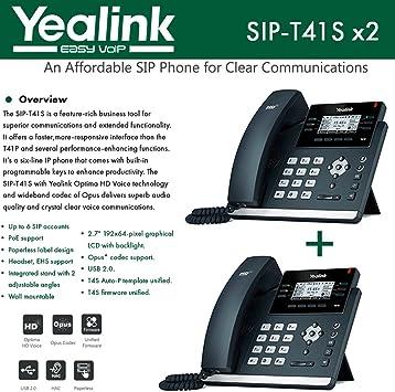 "YEALINK SIP-T41S ULTRA-ELEGANT IP PHONE 2.7/"" DISPLAY OPTIMA HD VOICE"