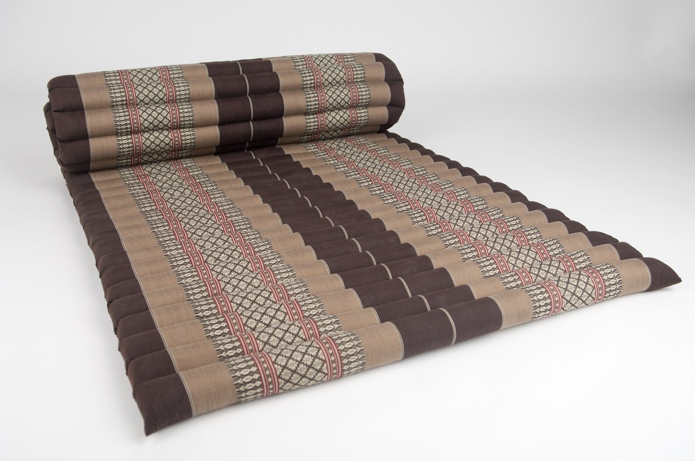 Design by UnseenThailand Roll Up Thai Mattress, Kapok Fabric, Premium Double Stitched, 79x30x2 inches. (Brown Cream)