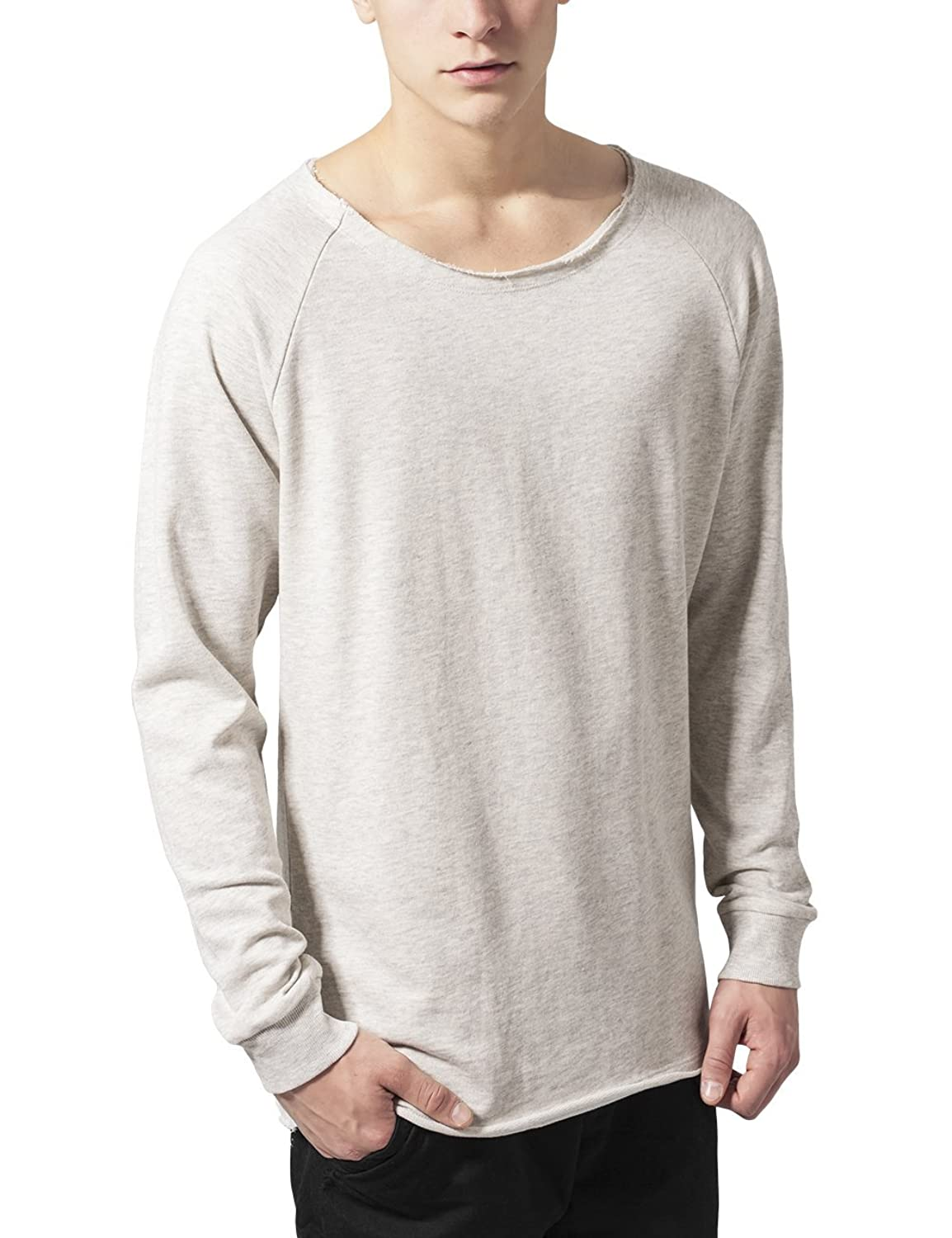 Urban Classics Men's Long Open Edge Terry Crewneck Sweatshirt
