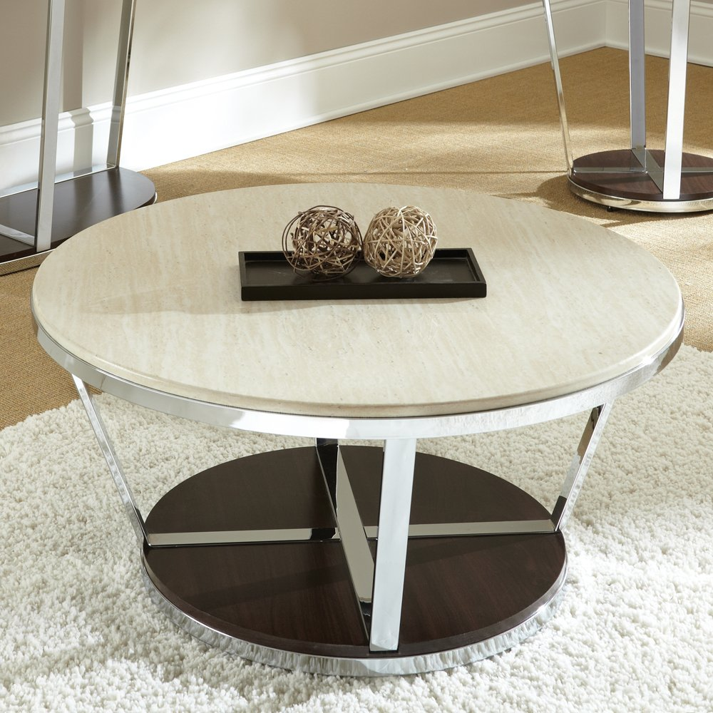 Itp 395cm White Marble Effect Coffee Table Round Side Table