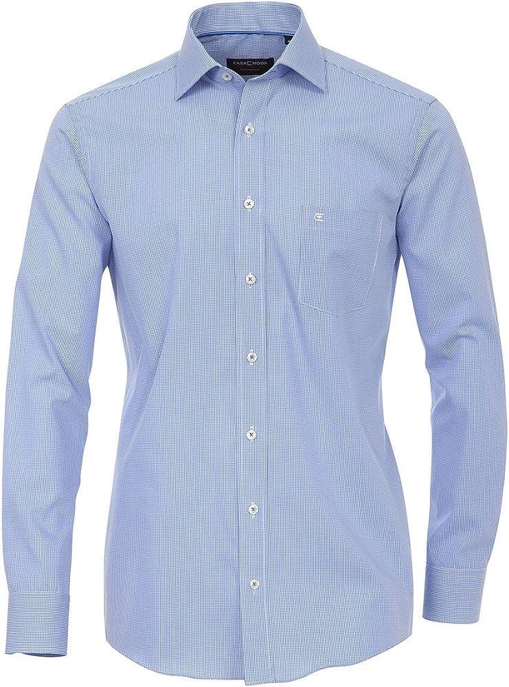 Casamoda Camisa Manga Larga Mediana Azul-Blanca Cuadros Oversize: Amazon.es: Ropa y accesorios