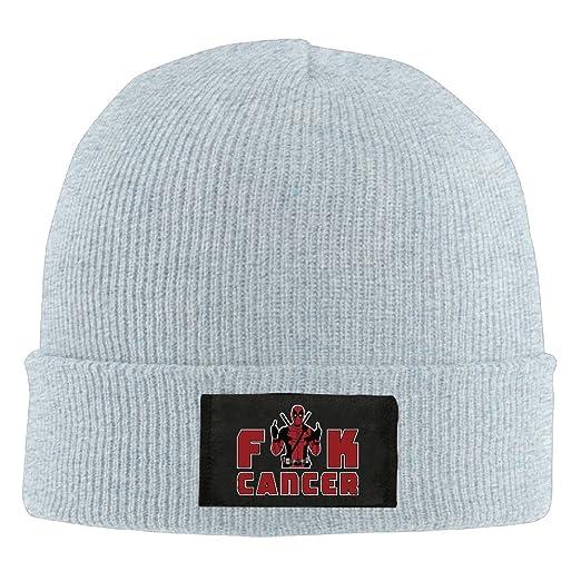 bd5e87504c4 Amazon.com  Runningway Cool Fuck Cancer Knit Winter Beanie Hat Skull ...