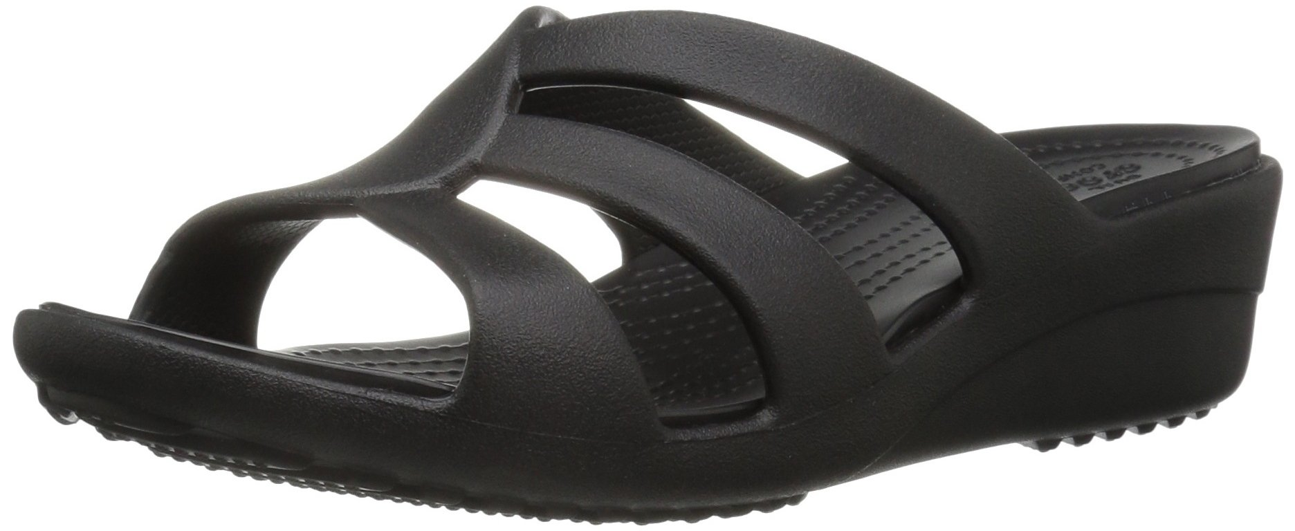 Crocs Women's Sanrah Strappy Wedge Sandal, Black, 6 M US
