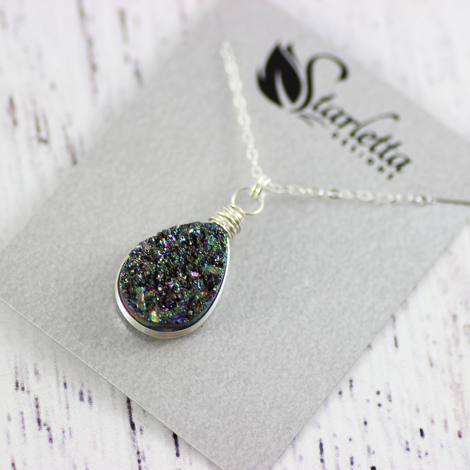 Rainbow Druzy Teardrop Sterling Silver Necklace - 16 Length