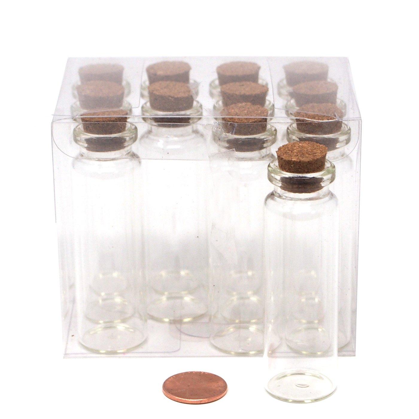 Homeford Mini Glass Tube Corked Jars, 3-Inch, 12-Pack