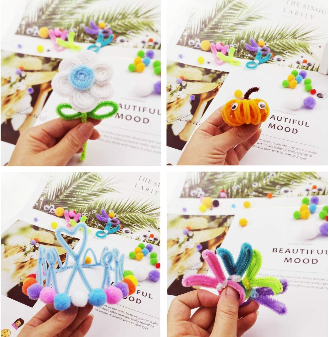 200PCS Pipe Cleaners 20 Colors,Size:6 mm x 12 Inch,100Pcs self-Sticking Wiggle Googly Eyes and 100Pcs Pompoms Metallic Chenille stem That can be Used for DIY Art Craft Decoration.