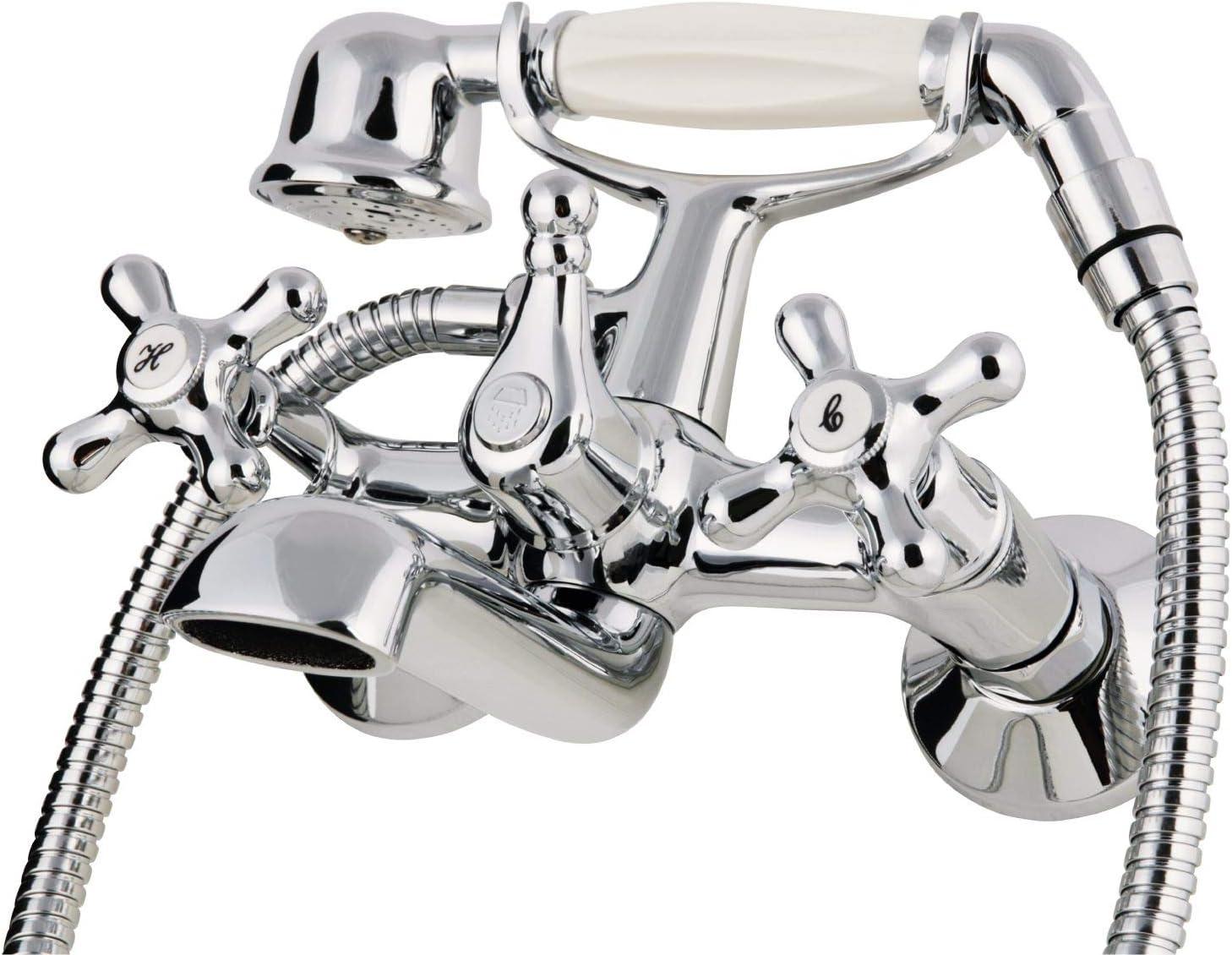 Retro Wasserhahn f/ürs Bad im Komplett-Set f/ür Dusche Wupper Badewanne und Waschbecken Calmwaters/® 99000175